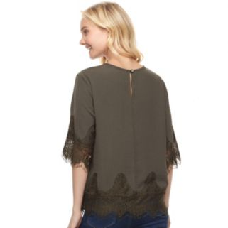 Juniors' Trixxi Satin Lace Elbow Sleeve Top