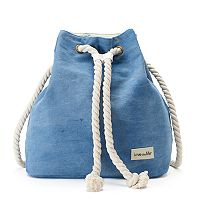 love this life Washed Denim Rope Drawstring Backpack