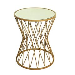 HomePop Hourglass Mirrored Gold Finish End Table