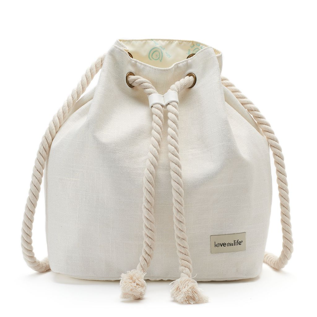 love this life Shiny Canvas Rope Drawstring Backpack