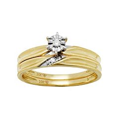 10k Gold Diamond Accent Engagement Ring Set