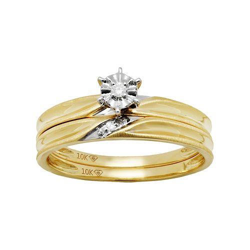 10k Gold Diamond Accent Engagement Ring Set