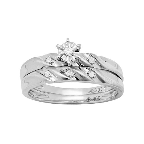 10k White Gold Diamond Accent Engagement Ring Set