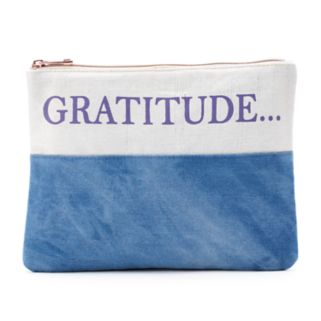 """love this life Denim Patchwork """"Gratitude..."""" Cosmetic Pouch"""