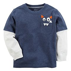 Baby Boy Carter's Monster Mock-Layer Long Sleeve Graphic Tee