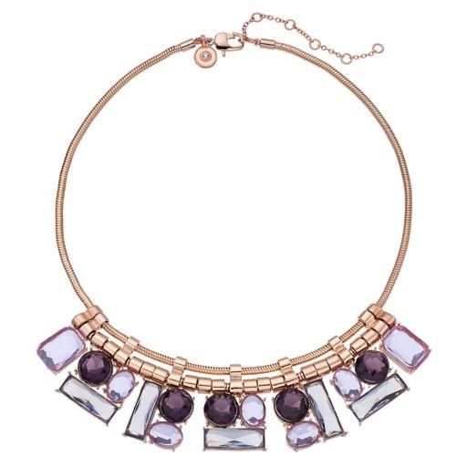 Jennifer Lopez Geometric Stone Cluster Statement Necklace