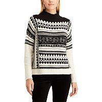 Petite Chaps Patterned Mock-Neck Sweater