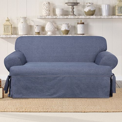 Sure Fit Authentic Denim T-Loveseat Slipcover