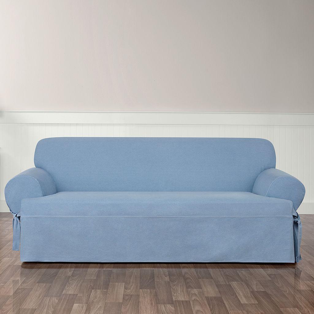 Sure Fit Authentic Denim T-Sofa Slipcover