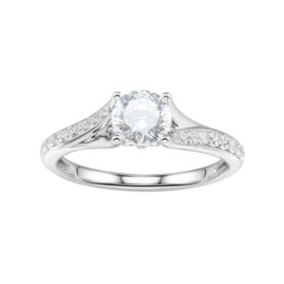 DiamonLuxe Sterling Silver 2 Carat T.W. Simulated Diamond Bypass Ring