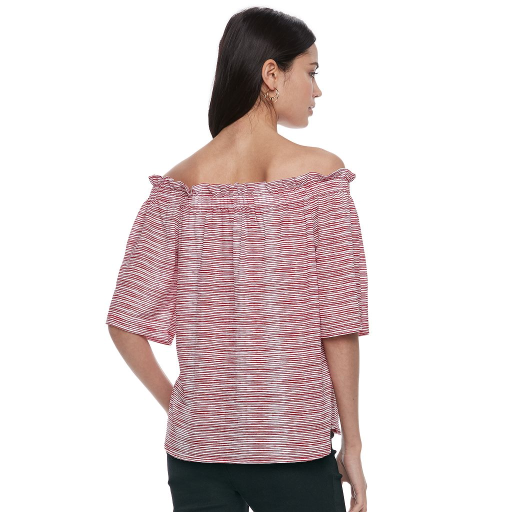 Women's ELLE™ Striped Off-the-Shoulder Ruffle Top