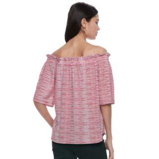 Women's ELLE™ Striped Off-the-Shoulder Ruffle Top