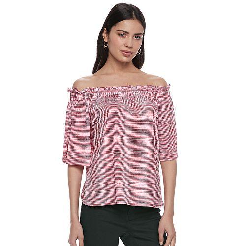 02ea35fb55e98 Women s ELLE™ Striped Off-the-Shoulder Ruffle Top