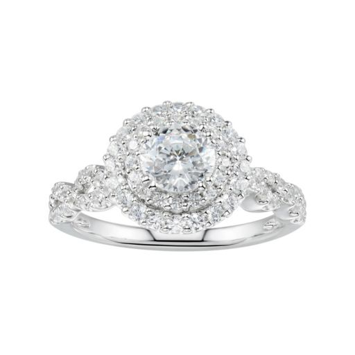 DiamonLuxe Sterling Silver 2 3/4 Carat T.W. Simulated Diamond Tiered Halo Ring