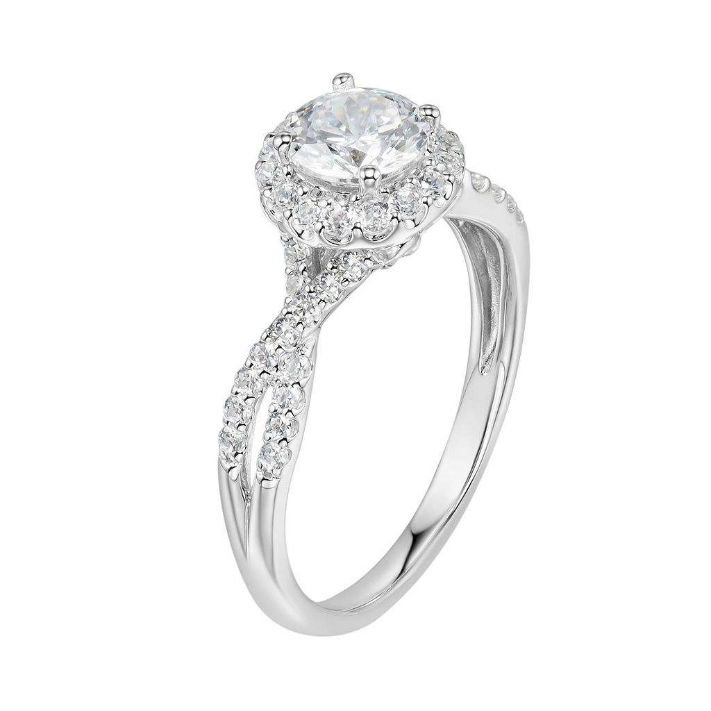 DiamonLuxe Sterling Silver 2 1/3 Carat T.W. Simulated Diamond Halo Ring