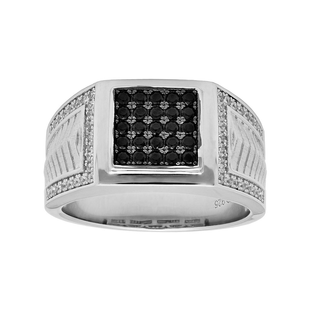 Sterling Silver Black & White Cubic Zirconia Square Men's Ring