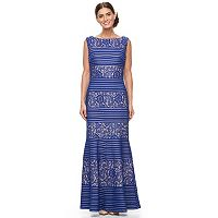 Women's Chaya Striped Lace Evening Gown
