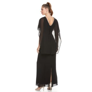 Women's Chaya Capelet Black Evening Gown