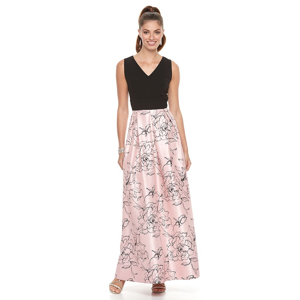 Women's Chaya Floral Colorblock Evening Gown