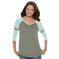 Juniors' SO® Striped Burnout Raglan Tee