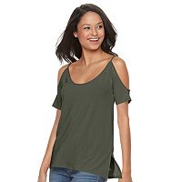 Juniors' SO® Cross-Back Cold Shoulder Tee