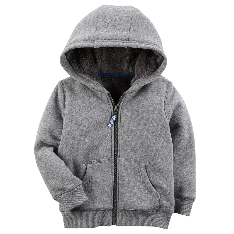 baby boy gray zip fleece hoodie
