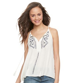 Juniors' Love, Fire Embroidered Tank