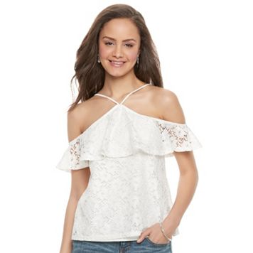 Juniors' Love, Fire Lace Ruffle Halter Top