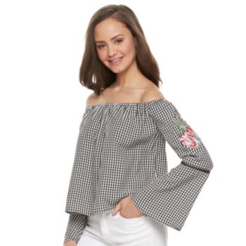 Juniors' Love, Fire Gingham Off-the-Shoulder Bell Sleeve Top