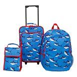 3-Piece Kids Shark Luggage Set