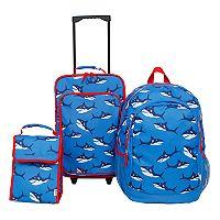 3 pc Kids Shark Luggage Set