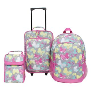 3-Piece Kids Butterfly Luggage Set