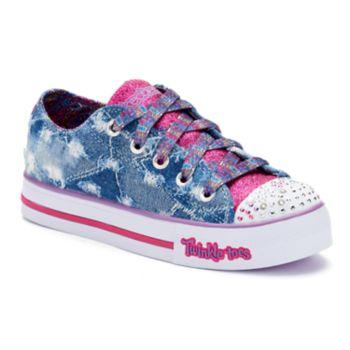 Skechers Twinkle Toes Shuffles Step Up Diggin Denim Girls' Light Up Sneakers