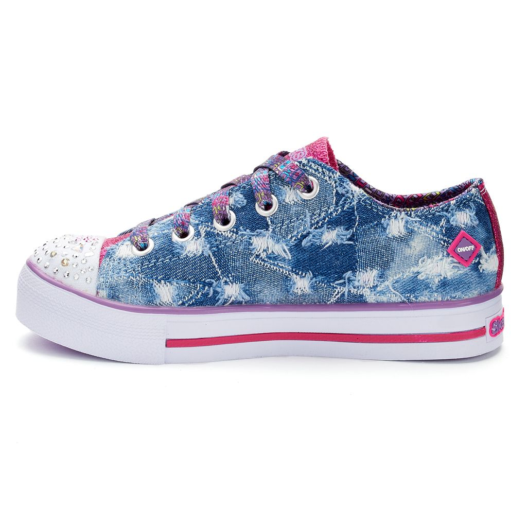 Skechers Twinkle Toes Shuffles Step Up Diggin Denim Girls' Light Up Sneakers