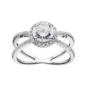 PRIMROSE Sterling Silver Cubic Zirconia Halo X Ring