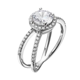 PRIMROSE Sterling Silver Cubic Zirconia Halo X Ring