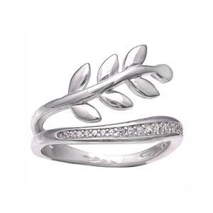 PRIMROSE Sterling Silver Cubic Zirconia Leaf Ring