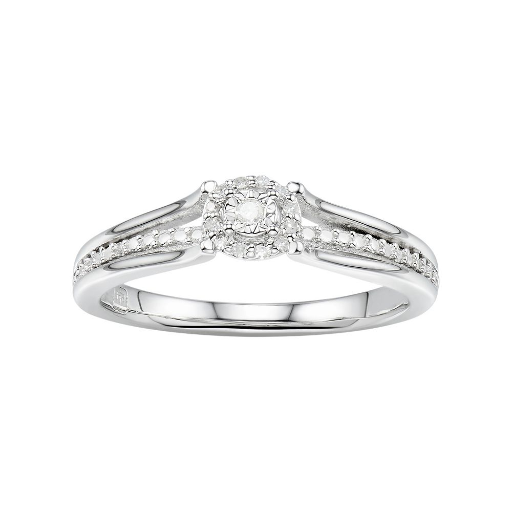 a45dd46355 Promise Love Forever Sterling Silver Diamond Accent Halo Promise ...