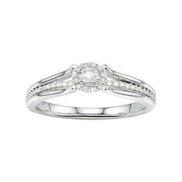 Promise Love Forever Sterling Silver Diamond Accent Halo Promise Ring