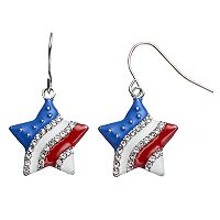 Red, White & Blue Star Nickel Free Drop Earrings