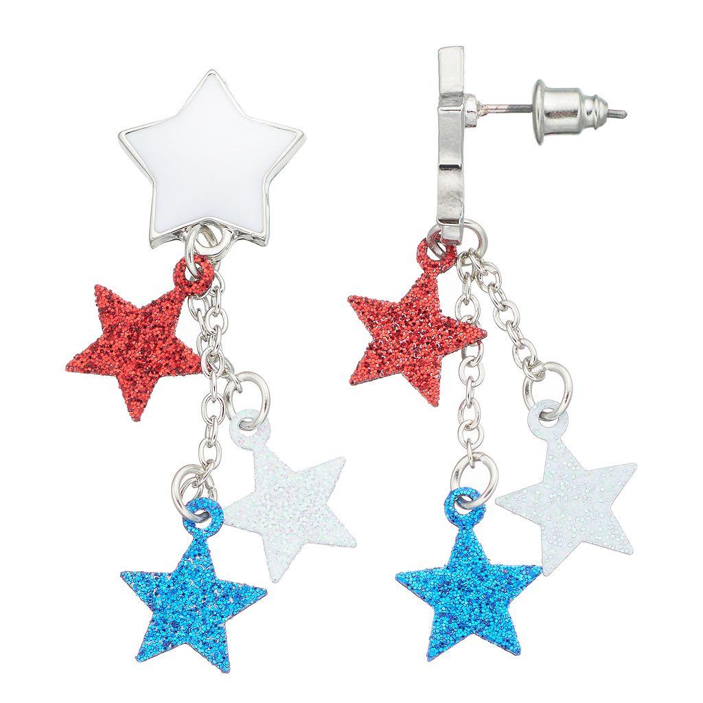 Red, White & Blue Glittery Star Nickel Free Drop Earrings