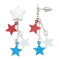 Red, White & Blue Glittery Star Nickel Free Drop Earrings