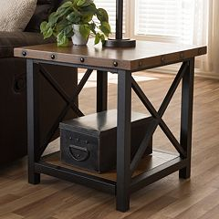 Baxton Studio Herzen Rustic Industrial End Table