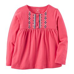Baby Girl Carter's Pink Embroidered Babydoll Top