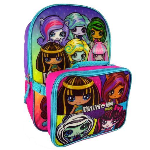 Kids Monster High Minis Backpack & Lunch Box Set