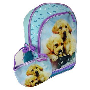 Kids Rachel Hale Photoreal Puppies Backpack & Purse Set