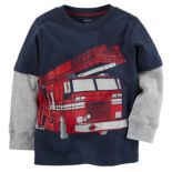 Baby Boy Carter's Fire Truck Mock-Layer Tee