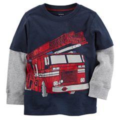 Baby Boy Carter's Fire Truck Mock-Layer Tee