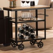 Baxton Studio Kennedy Rolling Bar Cart