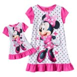 Disney's Minnie Mouse Toddler Girl Ruffled Nightgown & Doll Dress Set